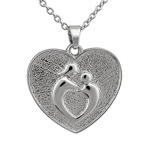 Hanessa Dames-sieraad zilveren ketting hart hanger moeder & kind cadeau voor kerst voor moeders/vrouw/vriendin