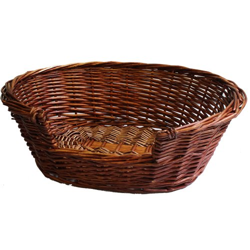 JVL Full Buff Wicker Small Pet Bed Basket, 58 x 49 x 20 cm