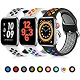 Lerobo 3 Pack Sport Bands Compatible with Apple Watch Bands 44mm 42mm Women Men, Soft Silicone Sport Strap Breathable Wristband Replacement Band for iWatch Series 6, Series 5 4 3 2 1 SE, 42mm/44mm-M/L