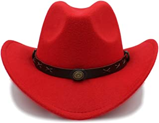 Techecho Pork Pie Hat Women Men Wool Western Cowboy Hat Wide Brim Cowgirl Cap Flower Charms Leather Band Size 56-58CM Ladies (Color : Red, Size : 56-58cm)