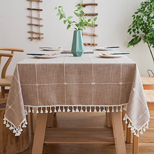 Mokani Washable Cotton Linen Solid Embroidery Checkered Design Tablecloth, Rectangle Table Cover Great for Kitchen Dinning Tabletop Buffet Decoration (55 x 120 Inch, Brown)