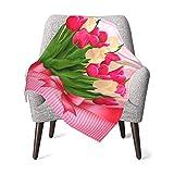 Olverz Manta para el día de la madre, manteles individuales con flores de tulipán, cómoda manta de bebé, manta gruesa de felpa, manta suave para cochecito, cuna, recién nacidos