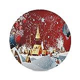 Juego de 4 manteles individuales redondos con forma de muñeco de nieve de Feliz Navidad, Año Nuevo, ...