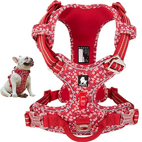 La La Pet - Arnés para perro sin tirar, con clip frontal, chaleco reflectante para perro con asa de neopreno floral acolchado para cachorros, tamaño pequeño, mediano, grande, 3 hebillas fáciles de poner y quitar rojo XS