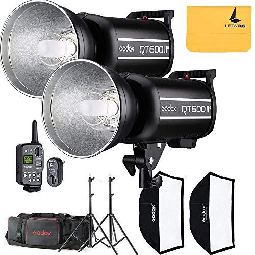 Godox QT600II QT-600IIM 1200W Two QT600II 2.4G GN76 High Speed 1/8000s 110V Studio Strobe Flash Light,Godox XT-16 Flash Trigger