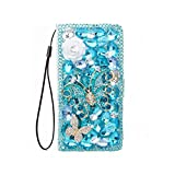 Fun-boutique Coque pour Galaxy,3D Butterfly Flower Crystal Diamond Flip Leather Wallet Case for...