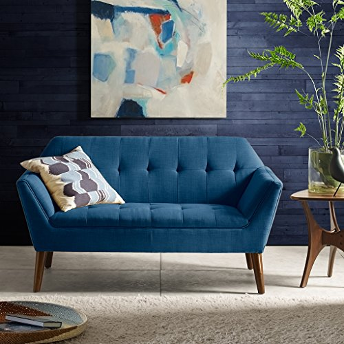 "INK+IVY Newport Accent Armchair-Solid Wood Frame, Flare Arm Family Loveseat Settee Modern Mid-Century Style Living Room Sofa Furniture, 59"" Wide, Blue"