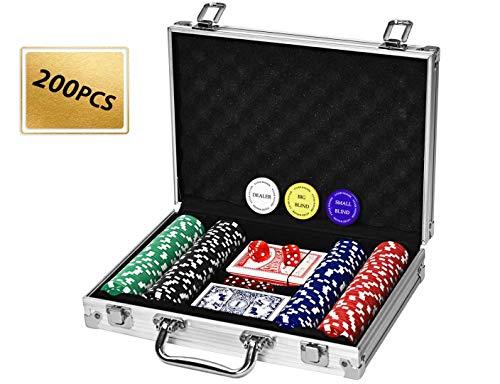 4everwinner Poker Chip Set 200PCS Poker Chips 11.5 Gram Casino Chips for Texas Holdem Blackjack Gambling, 2 Decks of Playing Cards Poker Set with Aluminum Case