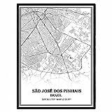Así que José dos Pinhais Brasil Mapa de pared arte lienzo impresión cartel obra de arte sin marco moderno mapa en blanco y negro recuerdo regalo decoración del hogar