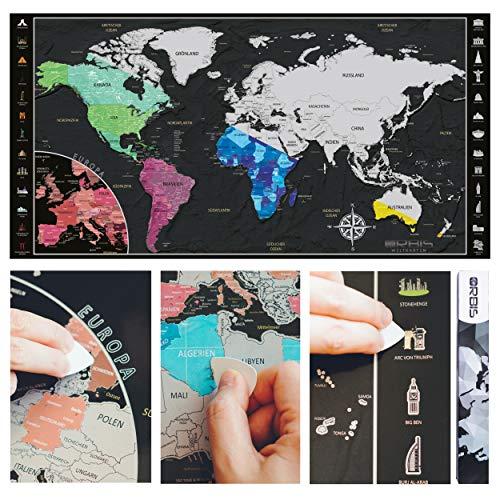 ORBIS Weltkarten® zum Rubbeln in Deutsch Rubbelweltkarte mit Europa Zoom & 26 legendären Wahrzeichen Scratch Map Inclusive Rubbelwerkzeug zum Freirubbeln