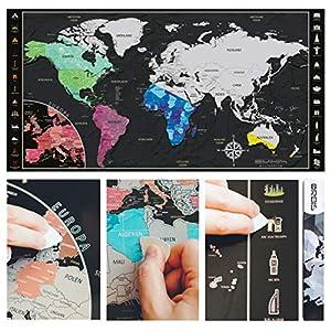 Mapamundi Orbis para rascar en alemán, mapa del mundo de los rasguños con Europa Zoom y 26 legendarios símbolos Scratch Map, incluye herramienta de rascar para frotar