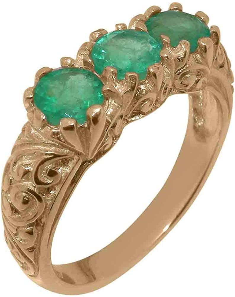 18k Rose Gold Natural Emerald Womens Trilogy - 4 1 Sizes ring 2021new shipping free shipping to Max 87% OFF