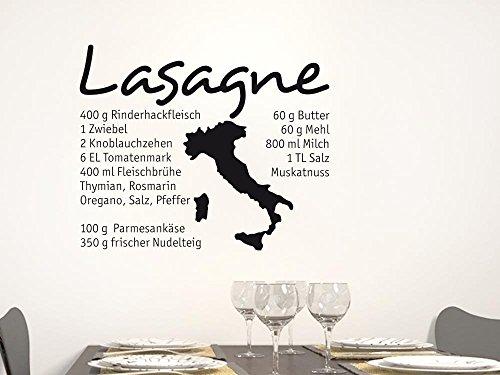 GRAZDesign Küchendeko Dekorfolie Lasagne, Wandgestaltung Küche Italien, Wandtattoo Küche Rezept / 61x50cm / 070 schwarz