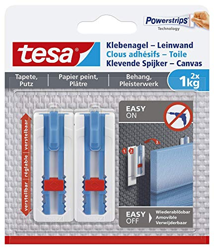 Tesa 77778 Klebenagel Tapeten & Putz-höhenverstellbar-Selbstklebender ideal für Leinwand & Keilrahmen-hält bis 1kg/Nagel-spurlos ablösbar, Weiß