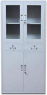 AE 4 Door Steel Cabinet with 2 Lockable Drawers, Grey - W90cm x H180cm x D45cm