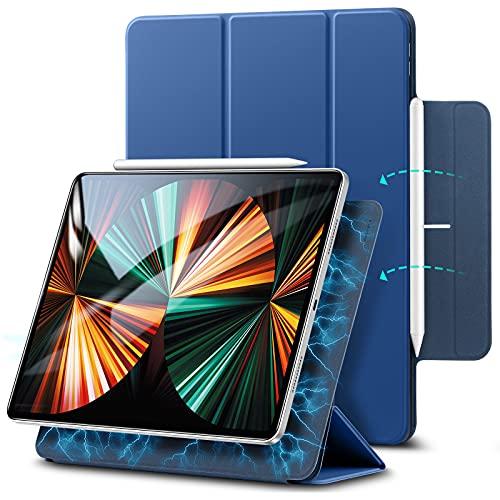 ESR Rebo& Magnet Hülle kompatibel mit iPad Pro 12.9 2021 Smart Hülle mit Pencil 2 Unterstützung & Trifold Ständer, Blau