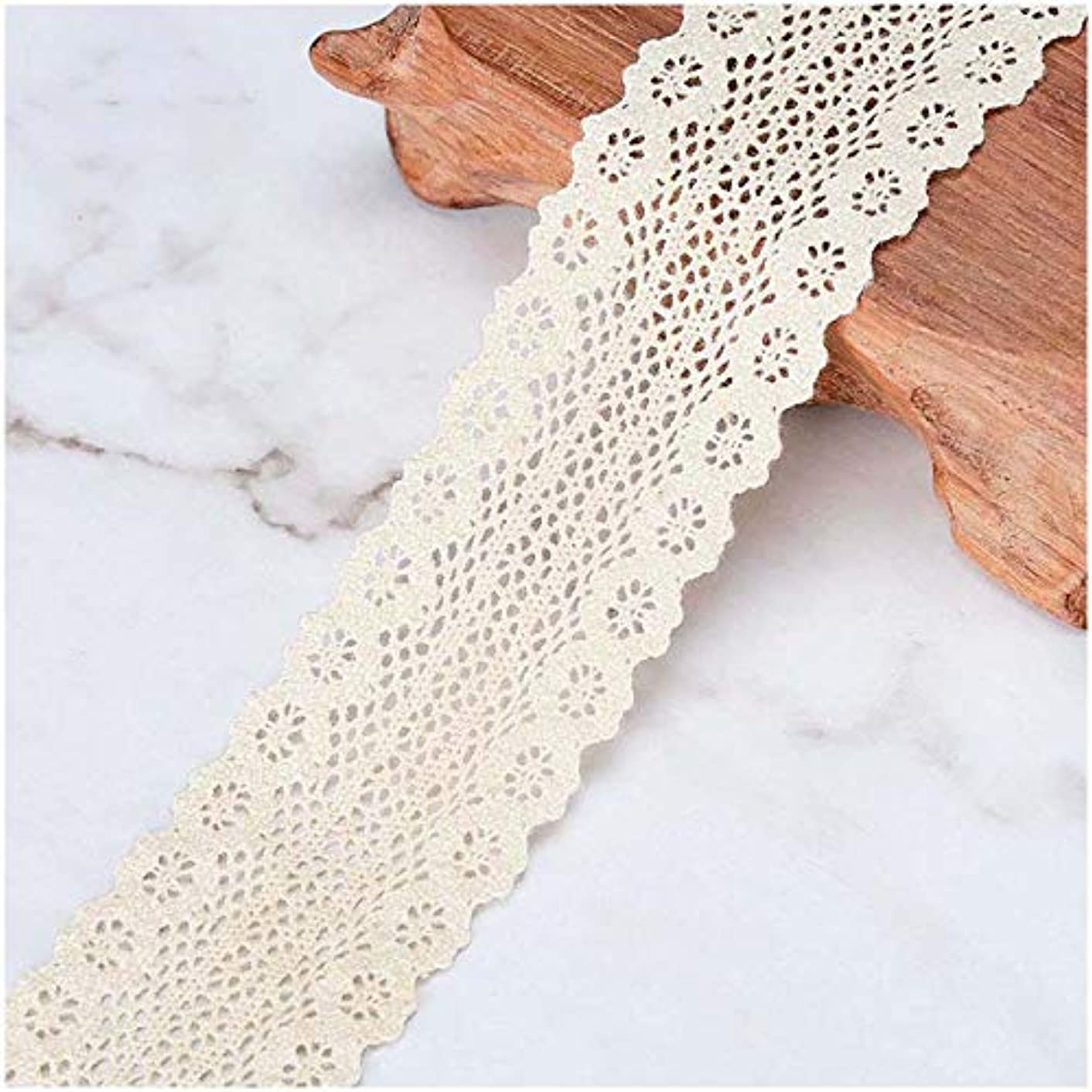 VU100 Crochet Lace Trim Ribbon Cotton, 1-1/4 Inches Sewing Lace Fabric Trim, for Gift Wrapping Lace Ribbon DIY Craft Wedding Decor(5 Yards, Beige)