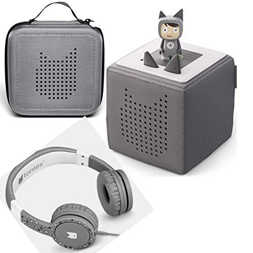 Toniebox Starterset Grau + Ordnungsbox für viele Tonies + Kinderkopfhörer Tonie-Lauscher