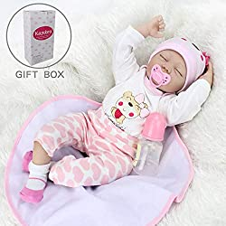 22 inches from head to toe, with gentle touch silicone head & limbs and weighted PP cotton cloth body for a real huggable soft baby feel, your kid will like to hold and sleep with her. She has hand applied eyelashes as well as hand rooted realistic m...