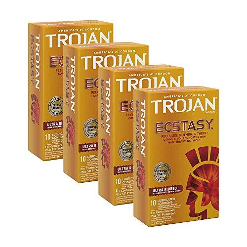 Trojan Ultra Ribbed Ecstasy – Preservativi in lattice lubrificato extra a coste, per un piacere in...