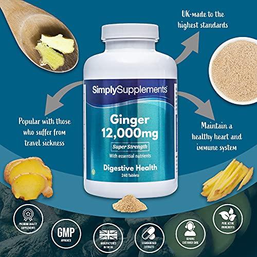 Estratto di zenzero 12000 mg - 240 compresse - Adatto ai vegani - 8 mesi di trattamento - SimplySupplements