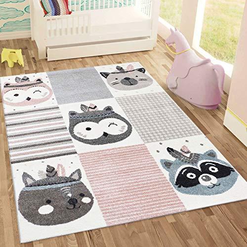 Fashion4Home | Kinderteppich Happy Animals | Tiere Bär Hase Eule Panda Auto Patchwork | Kinderteppiche Spielteppich Teppich für Kinderzimmer | Rosa Grau Blau | Schadstofffrei Kinderzimmerteppiche