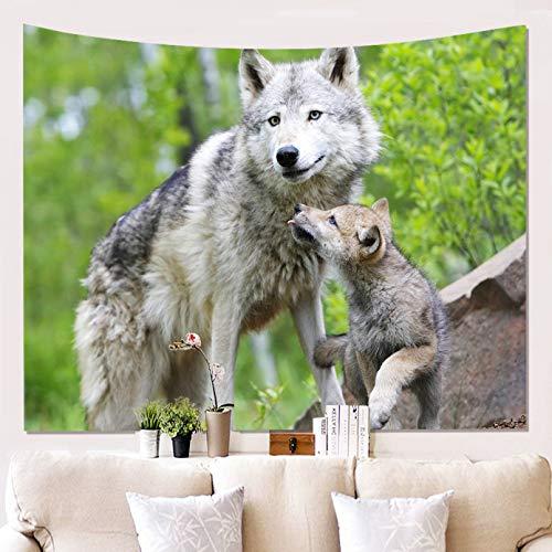 N/A Impresión 3D De Tapices Tapiz De Animales Sagrados De Lobos Decoración Colgante De Pared León Lobo Tigre Patrón De Fondo Tapiz De Pared Textil para El Hogar Decoración Vacaciones 130 Cm X 150 Cm