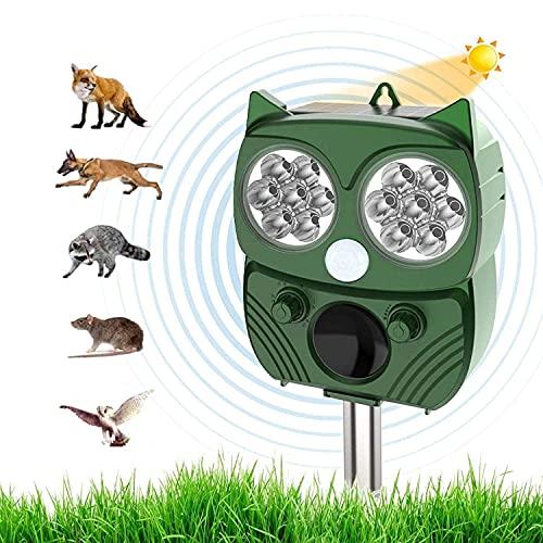 Repelente Gatos Exterior para Jardin Energía Solar, Ultrasonidos Ahuyentar Palomas Exterior, Ahuyentador Gatos USB Recargable con Flash LED