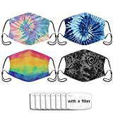4 piezas Tie Dye mascarilla de filtro de polvo pasamontañas para adultos cómodos con orejeras ajustables con 8 filtros de un tamaño