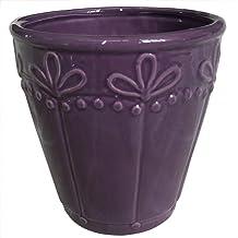 Better-way Ceramic Vintage Flower Pots Succulent Plant Container Ceramic Decorative Planter (5.7inch, Dark Purple)