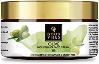 Good Vibes Olive Nourishing Face Cream - 50 g - Skin Brightening and Anti Ageing for Dry, Rough and Dull Skin - Paraben an...