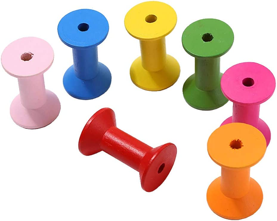 UUYYEO 10 Pcs Colorful Wood Thread Spools W Bobbins free Cheap mail order sales Empty