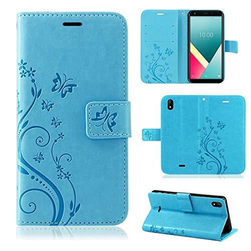 betterfon | Wiko Y61 Hülle Flower Hülle Handytasche Schutzhülle Blumen Klapptasche Handyhülle Handy Schale für Wiko Y61 Blau