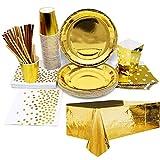 iZoeL Vajilla de fiesta dorada, mantel, vasos, servilletas, pajitas, bolsas de palomitas para niñas, fiestas, bodas, cumpleaños, 30 invitados
