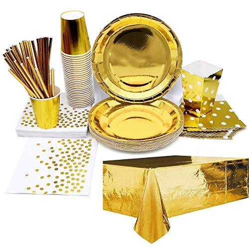 iZoeL Vajilla de fiesta dorada, mantel, vasos, servilletas, pajitas, bolsas de palomitas...