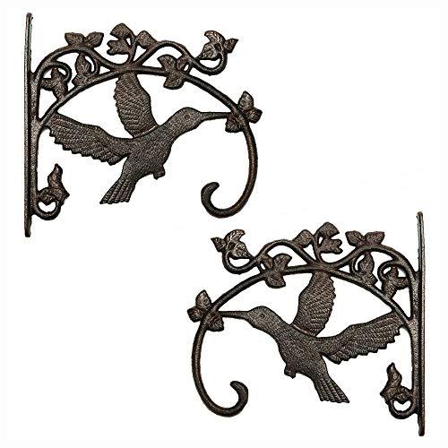 Sungmor Ganchos de pared para colgar plantas de hierro fundido - Soportes para cestas colgantes de alta resistencia - Forma de colibrí y 26.5CM y 2PC Marrón - Colgadores de pared decorativos