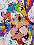 Ojmikmg Pintar por Numeros para Adultos Niños Principiantes -Pintura por Números Vaca Divertida con Pinceles y Pinturas DIY Conjunto 40 x 50 cm Sin Marco
