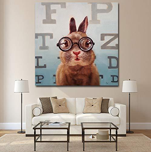 Arte De La Pared Pintura De La Lona De La Historieta Animal Picture Poster Prints Un Gato Y Un Ratón Con Gafas Pintura Decoración Para El Hogar Sin Marco 30X30Cm