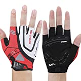 WONNY Cycling Gloves, Professional Mountain Bike Gloves for Men Women, Gel Padded Shock-Absorbing Anti-Slip Bicycle Gloves, Half Finger Breathable Sports Fitness Gloves (Red, M 6.69-7.48inch)
