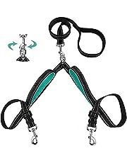 Szelam Plomo doble para perros, separador de correa doble sin enredos con cómodas asas acolchadas para entrenar y caminar 2 perros, correas reflectantes ajustables para perros medianos y grandes
