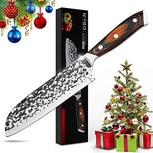 """HOBO Kochmesser 7\"""" Santoku-Messer Japanisches AUS-10 Steel Profi-Küchenkochmesser mit hohem Kohlenstoffgehalt - Klinge mit gehämmerter Oberfläche - Rasiermesserscharf, Rutschfester Kappa-Holzgriff"""