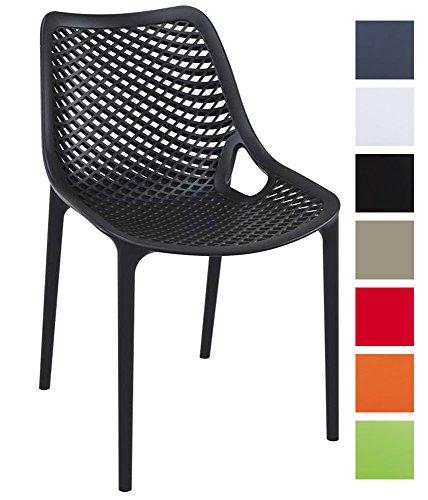 CLP XXL-Bistrostuhl Air Aus Kunststoff I Gartenstuhl Mit 44CM Sitzhöhe I Outdoor-Stuhl Mit Wabenmuster, Farbe:schwarz