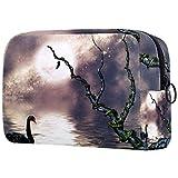 FURINKAZAN Black Swan On The Lake - Bolsa de maquillaje para artículos de tocador, bolsa de maquillaje para hombres y mujeres