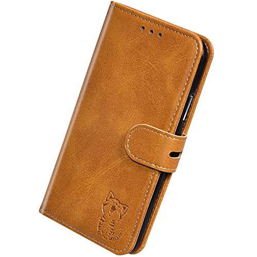 Herbests Kompatibel mit Huawei P30 Hülle Klapphülle Leder Tasche Flip Schutzhülle Wallet Handyhülle 3D Cool Katze Brieftasche Klappbar Hülle Book Case Kartenfächer Magnetisch,Gelb