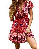 Abravo Mujer Vestido?Bohemio Corto Florales Nacional Verano Vestido Casual Magas Cortas Chic de Noche Playa Vacaciones,Rojo y Azul,M