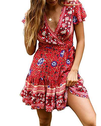 Abravo Mujer Vestido?Bohemio Corto Florales Nacional Verano Vestido Casual Magas Cortas Chic de Noche Playa Vacaciones,Rojo y Azul,L
