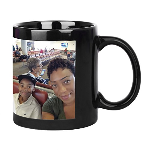 Magic Custom Photo Night Light Shiny Coffee Mug Cup, Personalized DIY Print Ceramic Cup -add Your Photo&Text