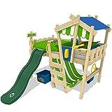 WICKEY lit pour enfant 'CrAzY Hutty' avec toboggan vert - Lit mezzanine en plusieurs combinaisons de couleurs - 90x200...