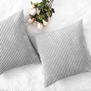 HOME BRILLIANT Thanksgiving Decor Throw Pillows Striped Velvet Cushion Cover for Chair Decorative Pillowcase, Set of 2, Light Grey, 18 x18 (45cm)