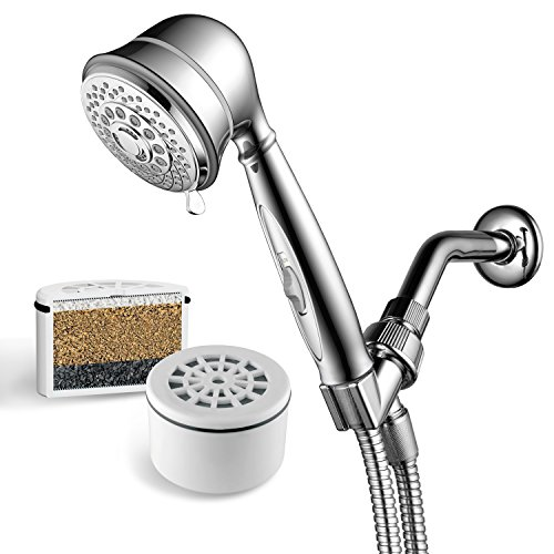 AquaCare By Hotel Spa 7-Setting Filtered Handheld Shower Head with Patented ON/OFF Pause Switch and 3-Stage Shower Filter Cartridge Inside